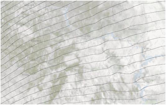 Гидрометеорологическая карта, распределение давления