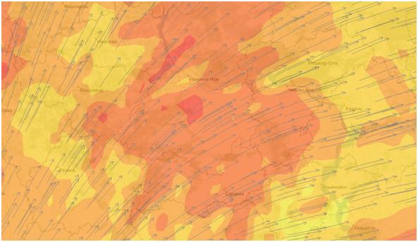 Гидрометеорологическая карта, направление ветра